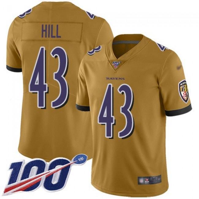 Nike Ravens #43 Justice Hill Gold Men's Stitched NFL Limited Inverted Legend 100th Season Jersey