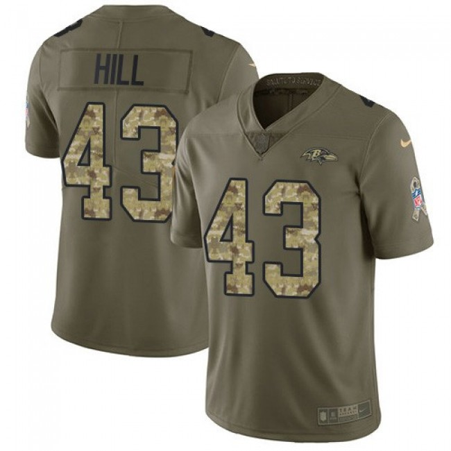 Nike Ravens #43 Justice Hill Olive/Camo Men's Stitched NFL Limited 2017 Salute To Service Jersey