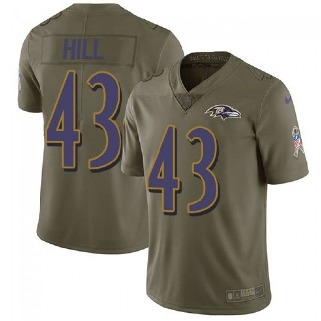 Nike Ravens #43 Justice Hill Olive Men's Stitched NFL Limited 2017 Salute To Service Jersey