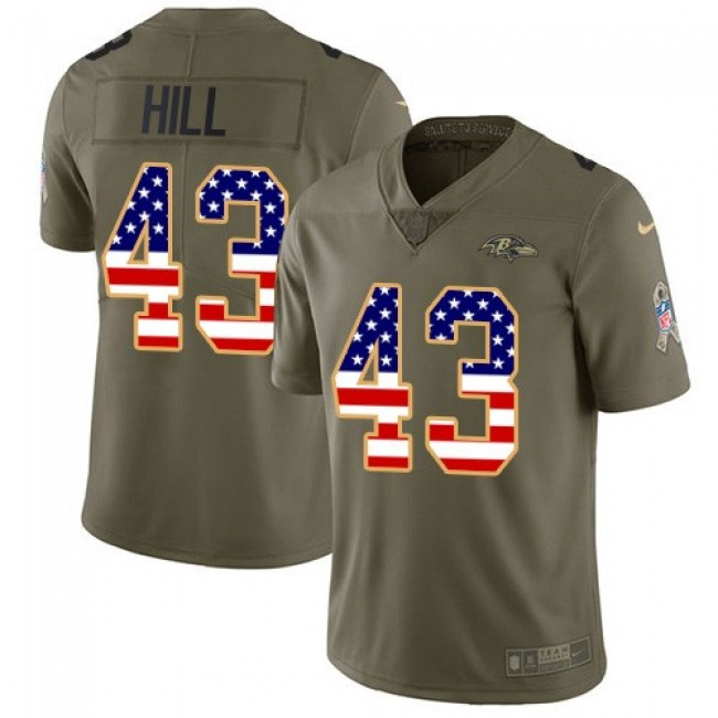 Nike Ravens #43 Justice Hill Olive/USA Flag Men's Stitched NFL Limited 2017 Salute To Service Jersey