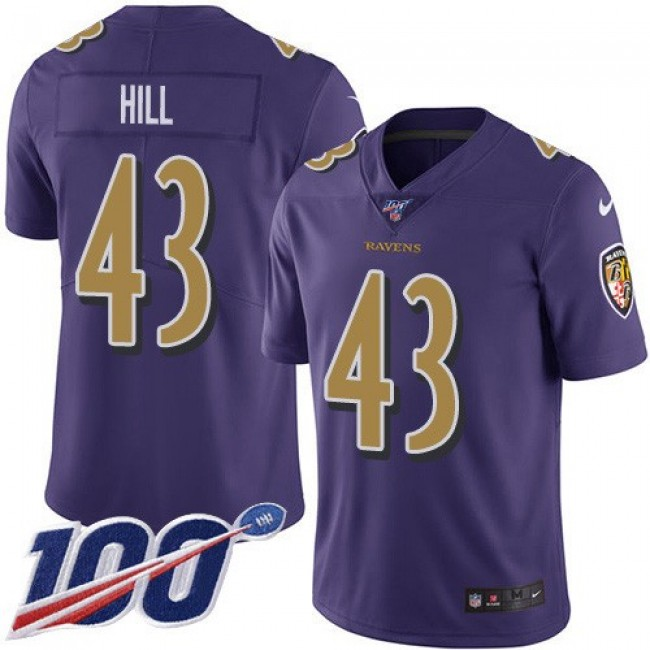 Nike Ravens #43 Justice Hill Purple Men's Stitched NFL Limited Rush 100th Season Jersey