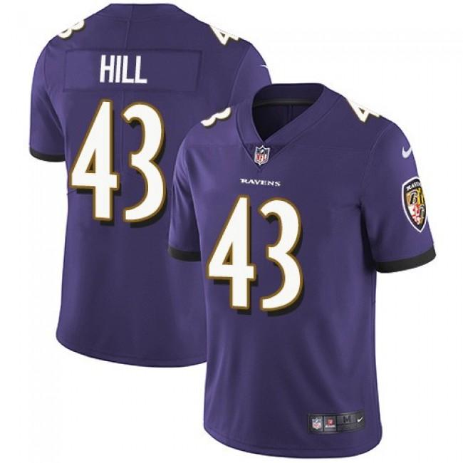 Nike Ravens #43 Justice Hill Purple Team Color Men's Stitched NFL Vapor Untouchable Limited Jersey
