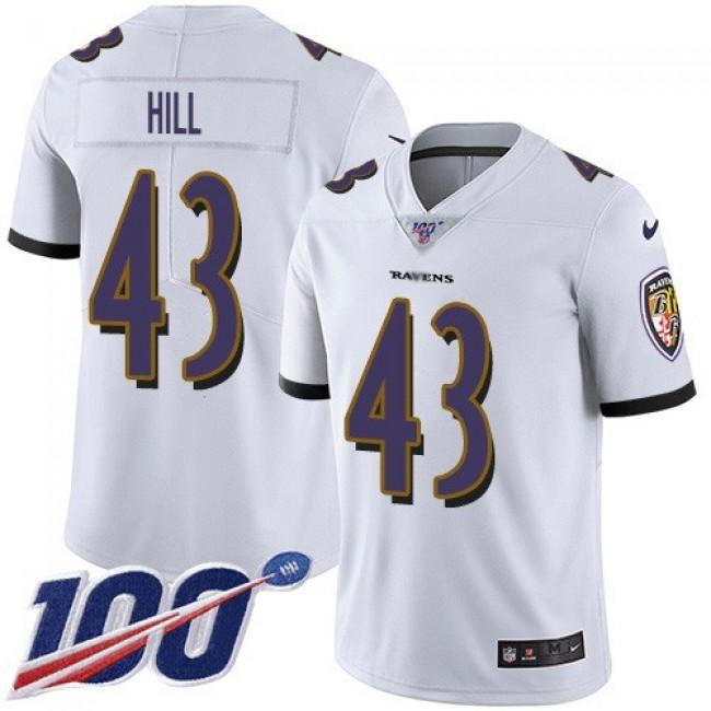 Nike Ravens #43 Justice Hill White Men's Stitched NFL 100th Season Vapor Untouchable Limited Jersey