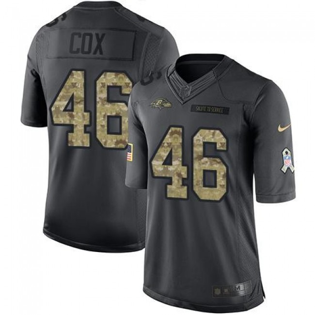 Nike Ravens #46 Morgan Cox Black Men's Stitched NFL Limited 2016 Salute to Service Jersey