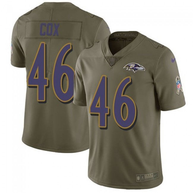 Nike Ravens #46 Morgan Cox Olive Men's Stitched NFL Limited 2017 Salute To Service Jersey
