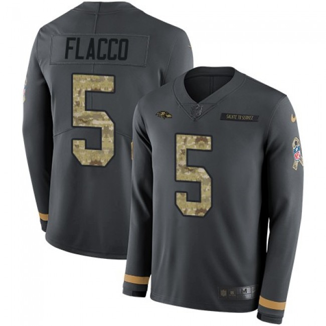 Nike Ravens #5 Joe Flacco Anthracite Salute to Service Men's Stitched NFL Limited Therma Long Sleeve Jersey