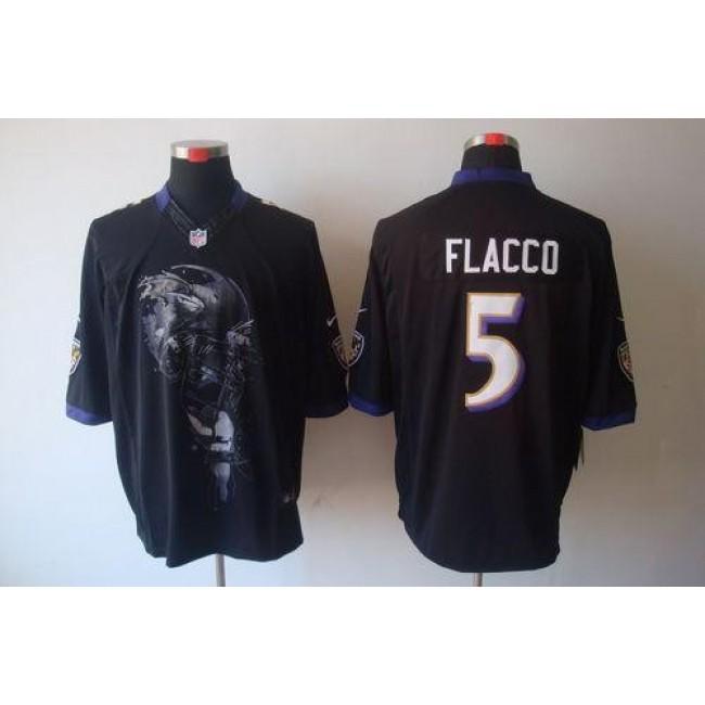 Nike Ravens #5 Joe Flacco Black Alternate Men's Stitched NFL Helmet Tri-Blend Limited Jersey