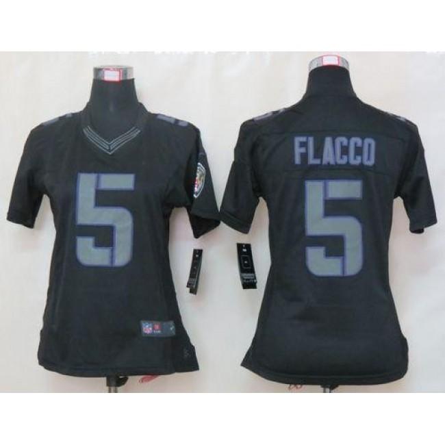 Women's Ravens #5 Joe Flacco Black Impact Stitched NFL Limited Jersey