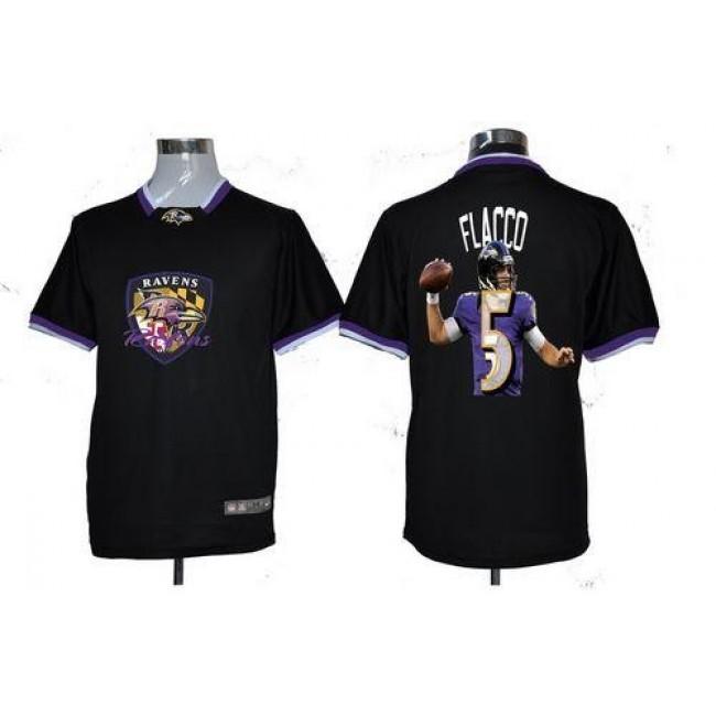 Nike Ravens #5 Joe Flacco Black Men's NFL Game All Star Fashion Jersey