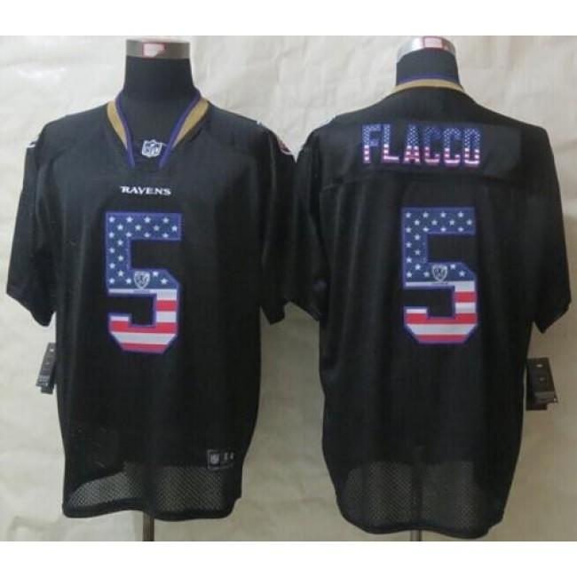 Nike Ravens #5 Joe Flacco Black Men's Stitched NFL Elite USA Flag Fashion Jersey