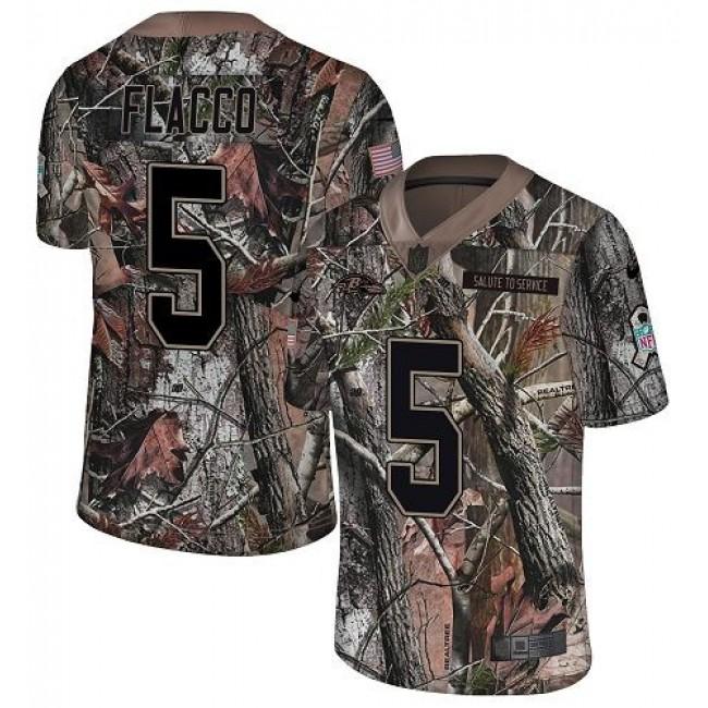 Nike Ravens #5 Joe Flacco Camo Men's Stitched NFL Limited Rush Realtree Jersey