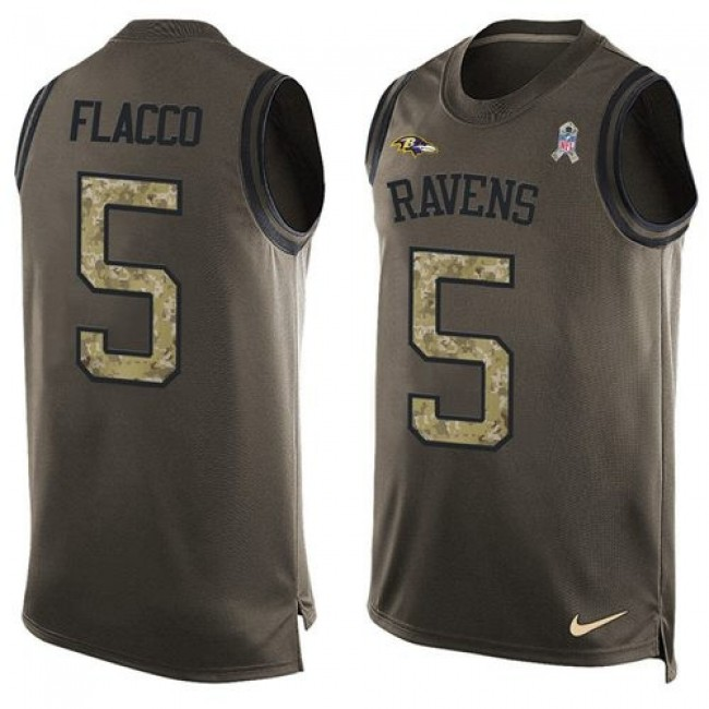 Nike Ravens #5 Joe Flacco Green Men's Stitched NFL Limited Salute To Service Tank Top Jersey