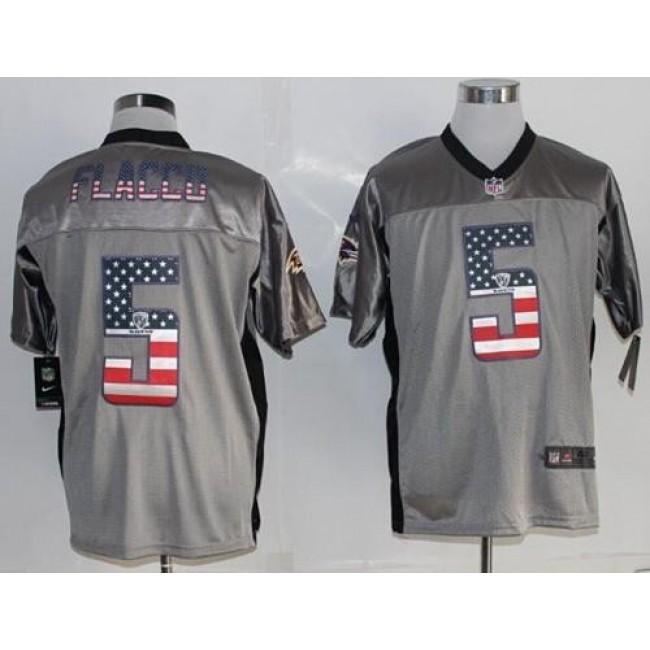 Nike Ravens #5 Joe Flacco Grey Men's Stitched NFL Elite USA Flag Fashion Jersey
