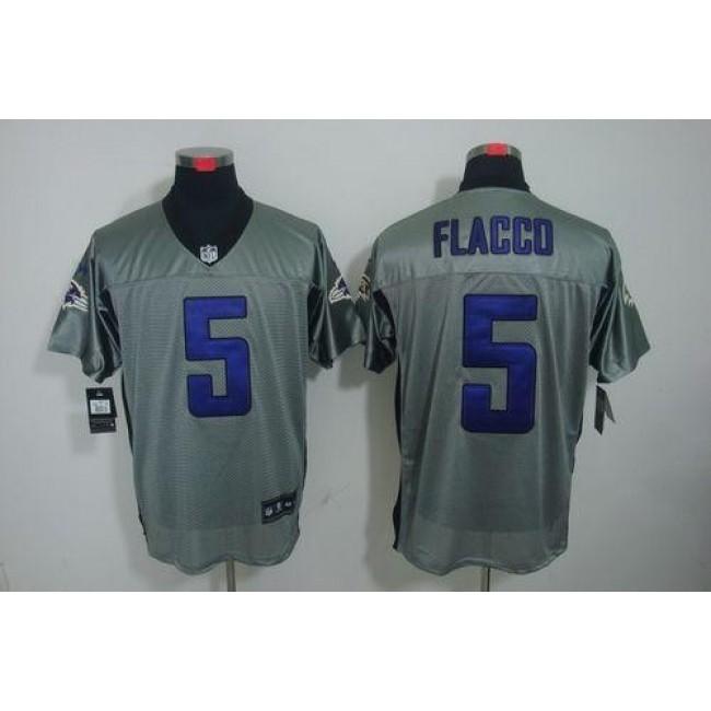 Nike Ravens #5 Joe Flacco Grey Shadow Men's Stitched NFL Elite Jersey