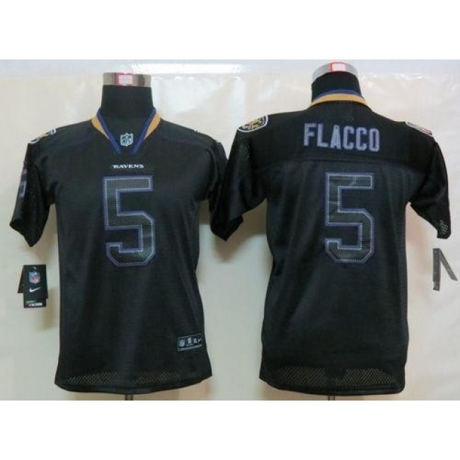 Baltimore Ravens #5 Joe Flacco Lights Out Black Youth Stitched NFL Elite Jersey