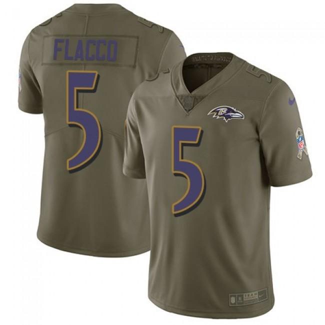 Nike Ravens #5 Joe Flacco Olive Men's Stitched NFL Limited 2017 Salute To Service Jersey