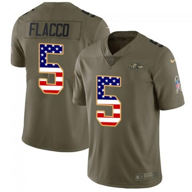 Nike Ravens #5 Joe Flacco Olive/USA Flag Men's Stitched NFL Limited 2017 Salute To Service Jersey