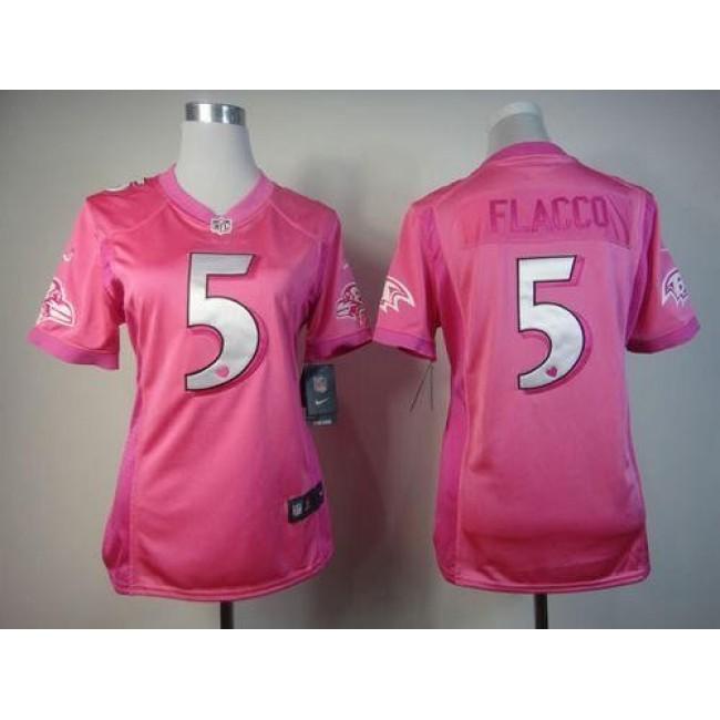 Women's Ravens #5 Joe Flacco Pink Be Luv'd Stitched NFL Elite Jersey