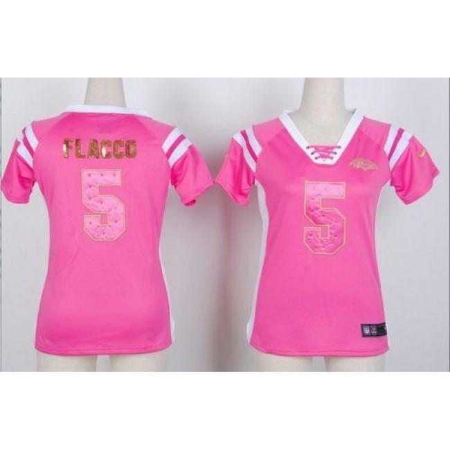 Women's Ravens #5 Joe Flacco Pink Stitched NFL Elite Draft Him Shimmer Jersey