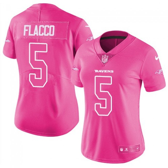 Women's Ravens #5 Joe Flacco Pink Stitched NFL Limited Rush Jersey