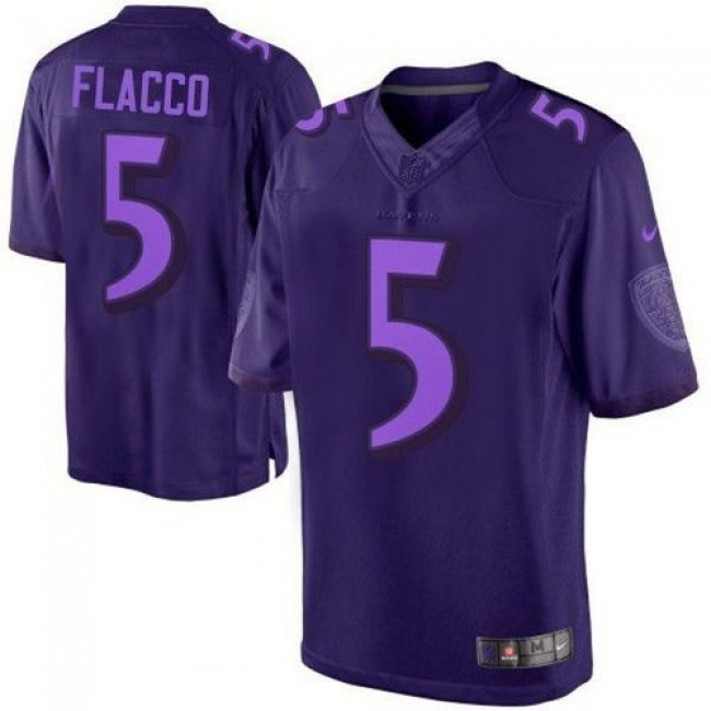 Nike Ravens #5 Joe Flacco Purple Men's Stitched NFL Drenched Limited Jersey