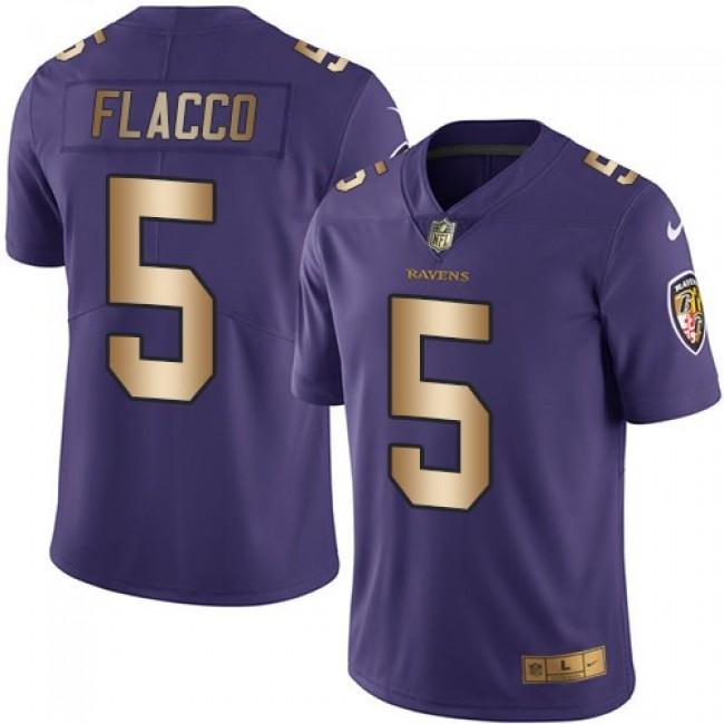 Nike Ravens #5 Joe Flacco Purple Men's Stitched NFL Limited Gold Rush Jersey