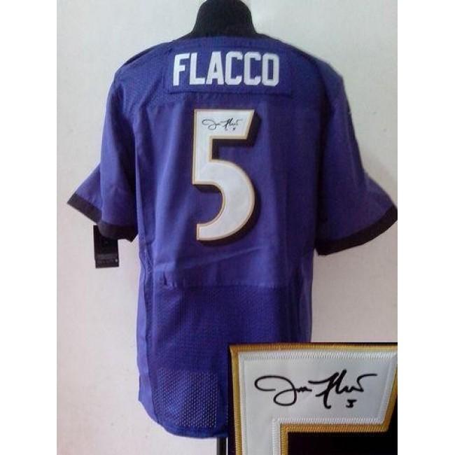 Nike Ravens #5 Joe Flacco Purple Team Color Men's Stitched NFL Elite Autographed Jersey