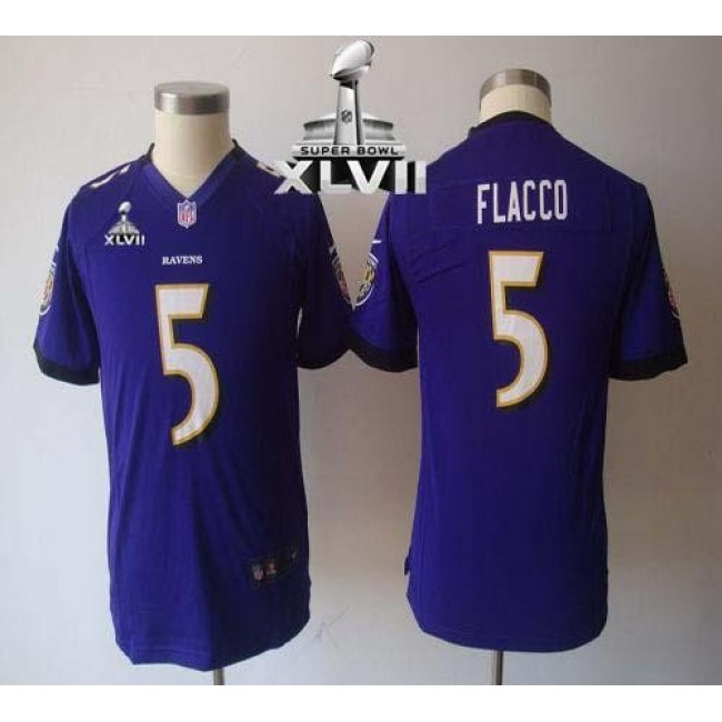 Baltimore Ravens #5 Joe Flacco Purple Team Color Super Bowl XLVII Youth NFL Game Jersey