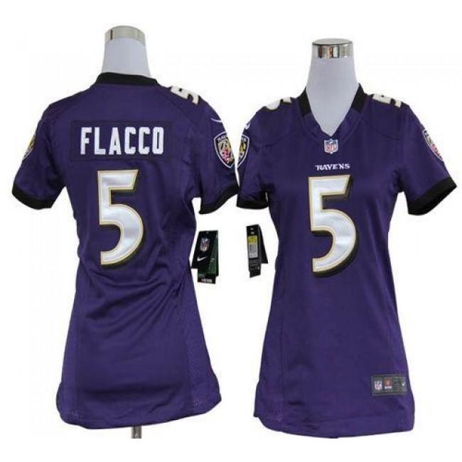 Women's Ravens #5 Joe Flacco Purple Team Color Stitched NFL Elite Jersey