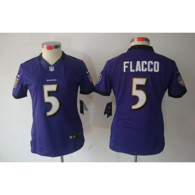 Women's Ravens #5 Joe Flacco Purple Team Color Stitched NFL Limited Jersey