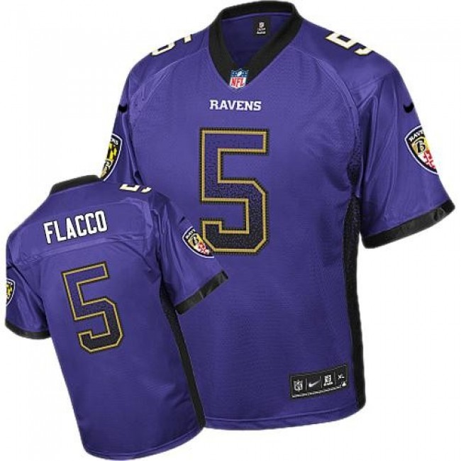 Baltimore Ravens #5 Joe Flacco Purple Team Color Youth Stitched NFL Elite Drift Fashion Jersey