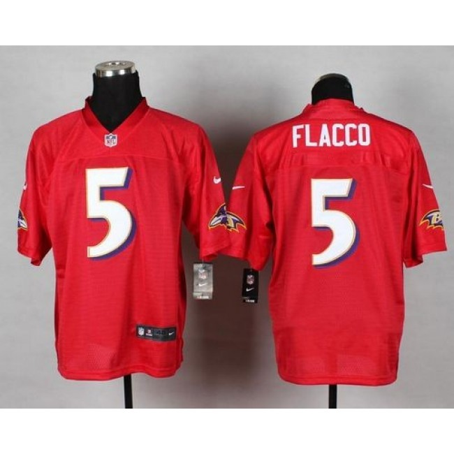 Nike Ravens #5 Joe Flacco Red Men's Stitched NFL Elite QB Practice Jersey