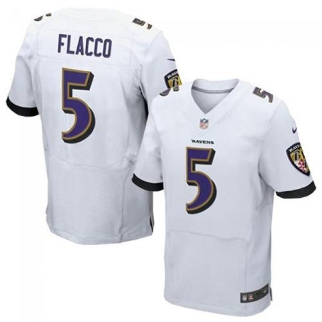 Nike Ravens #5 Joe Flacco White Men's Stitched NFL New Elite Jersey