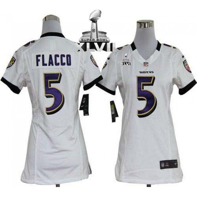 Women's Ravens #5 Joe Flacco White Super Bowl XLVII Stitched NFL Elite Jersey