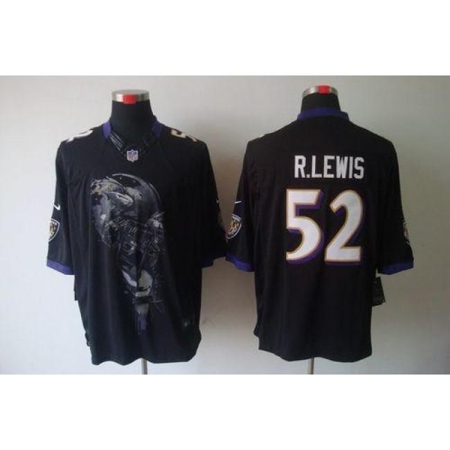 Nike Ravens #52 Ray Lewis Black Alternate Men's Stitched NFL Helmet Tri-Blend Limited Jersey