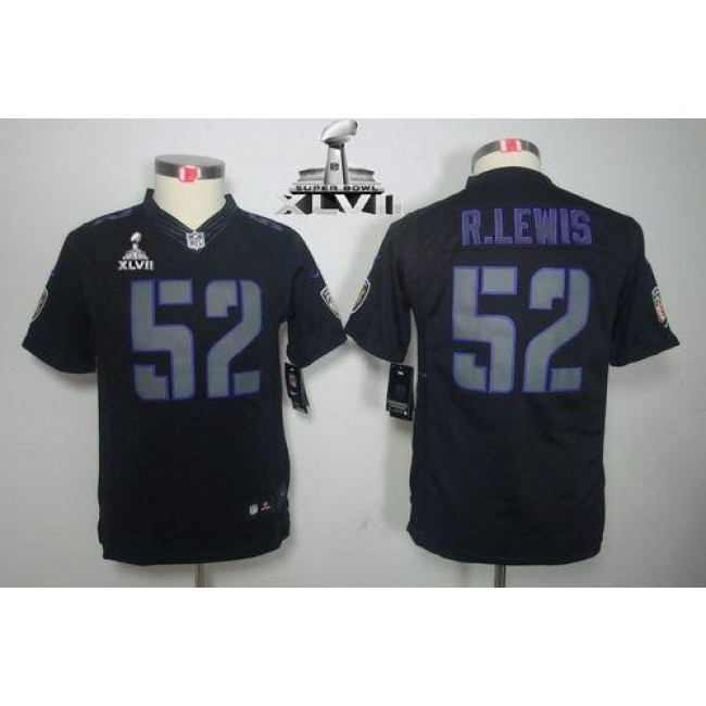 Baltimore Ravens #52 Ray Lewis Black Impact Super Bowl XLVII Youth Stitched NFL Limited Jersey