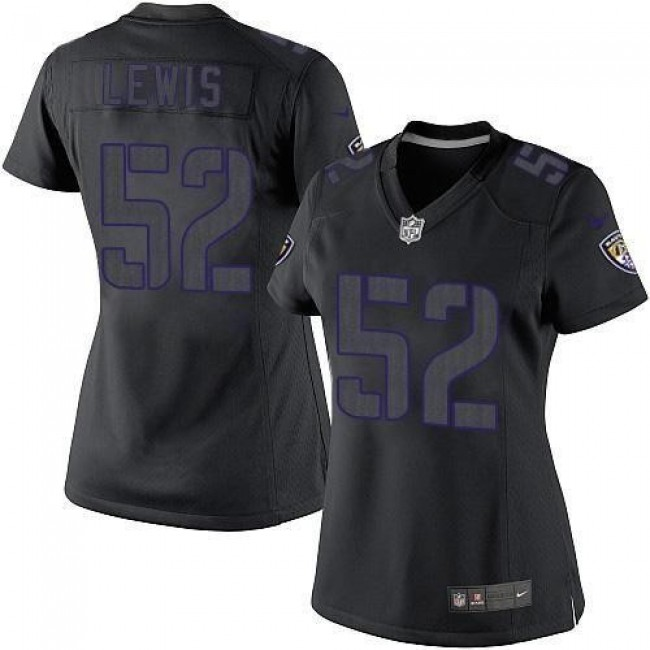 Women's Ravens #52 Ray Lewis Black Impact Stitched NFL Limited Jersey