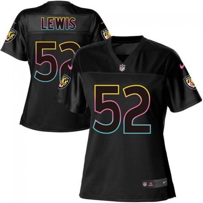 Women's Ravens #52 Ray Lewis Black NFL Game Jersey