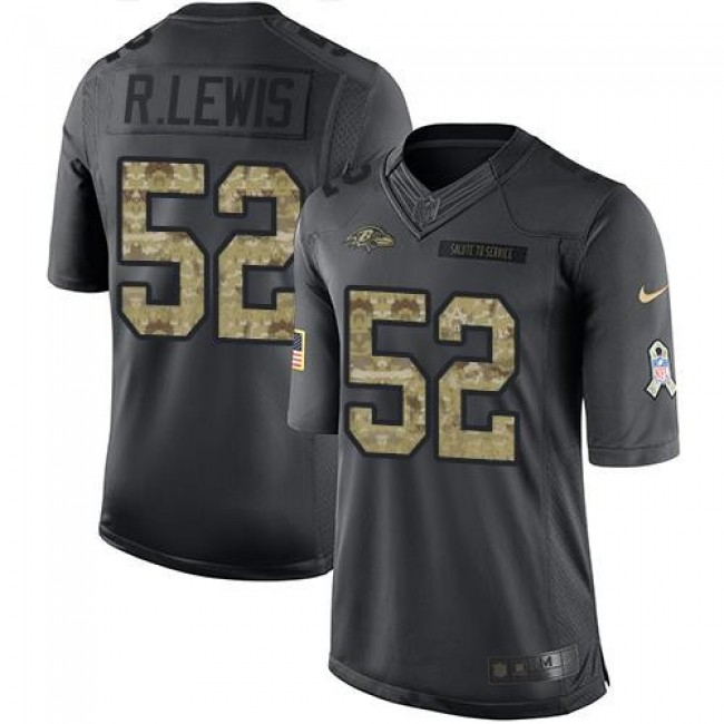 Baltimore Ravens #52 Ray Lewis Black Youth Stitched NFL Limited 2016 Salute to Service Jersey