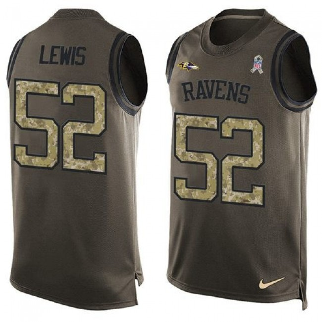 Nike Ravens #52 Ray Lewis Green Men's Stitched NFL Limited Salute To Service Tank Top Jersey