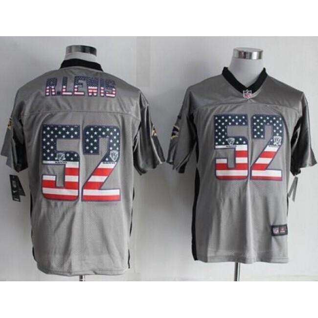 Nike Ravens #52 Ray Lewis Grey Men's Stitched NFL Elite USA Flag Fashion Jersey
