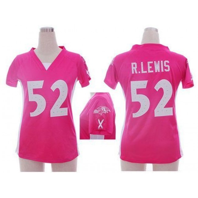 Women's Ravens #52 Ray Lewis Pink Draft Him Name Number Top Stitched NFL Elite Jersey