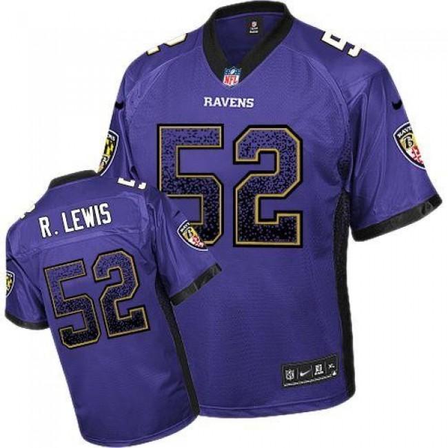 Nike Ravens #52 Ray Lewis Purple Team Color Men's Stitched NFL Elite Drift Fashion Jersey