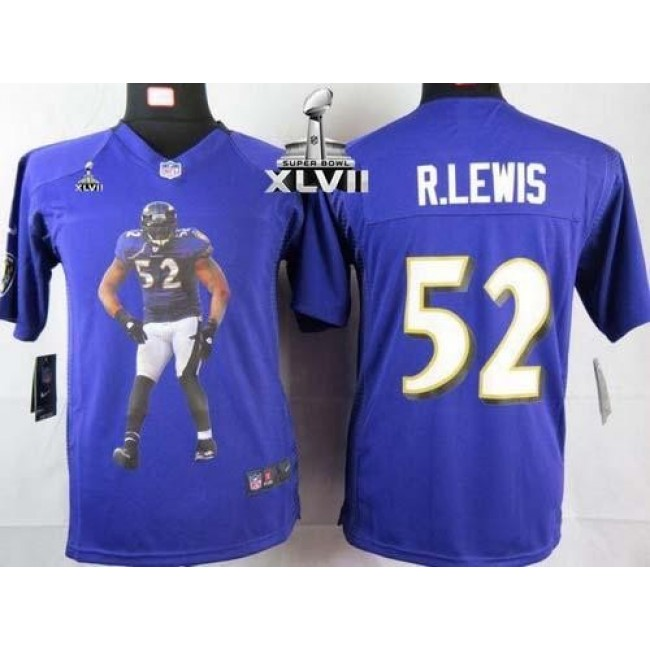 Baltimore Ravens #52 Ray Lewis Purple Team Color Super Bowl XLVII Youth Portrait Fashion NFL Game Jersey