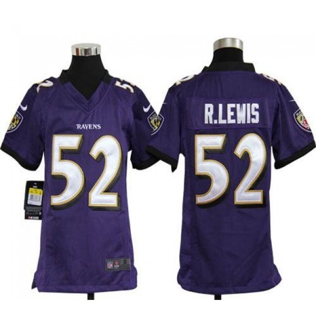Baltimore Ravens #52 Ray Lewis Purple Team Color Youth Stitched NFL Elite Jersey