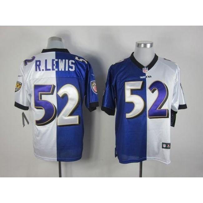 Nike Ravens #52 Ray Lewis Purple/White Men's Stitched NFL Elite Split Jersey