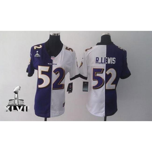 Women's Ravens #52 Ray Lewis Purple White Super Bowl XLVII Stitched NFL Elite Split Jersey