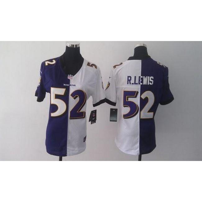 Women's Ravens #52 Ray Lewis Purple White Stitched NFL Elite Split Jersey