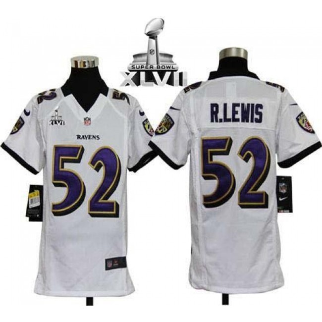 Baltimore Ravens #52 Ray Lewis White Super Bowl XLVII Youth Stitched NFL Elite Jersey