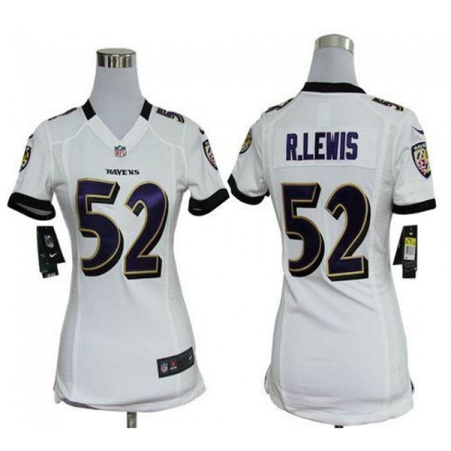 Women's Ravens #52 Ray Lewis White Stitched NFL Elite Jersey